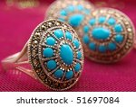Jeweller set from silver with turquoise - stock photo