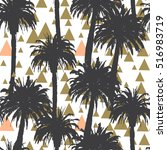 tropical palm trees seamless... | Shutterstock .eps vector #516983719