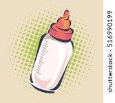 bottle of infant formula  hand... | Shutterstock .eps vector #516990199