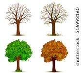 four seasons trees vector | Shutterstock .eps vector #516993160