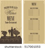 wine menu list with a still... | Shutterstock .eps vector #517001053
