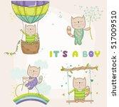 cute cat set  for baby shower... | Shutterstock .eps vector #517009510