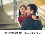 mixed race couple embracing ... | Shutterstock . vector #517011790