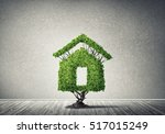 house shaped green tree as real ... | Shutterstock . vector #517015249