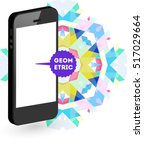 mobile phone icon with trendy... | Shutterstock .eps vector #517029664
