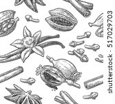seamless pattern set of spices. ...   Shutterstock .eps vector #517029703