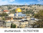 temple mount and the golden... | Shutterstock . vector #517037458