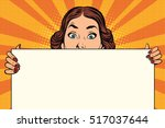 surprised beautiful retro woman ... | Shutterstock .eps vector #517037644