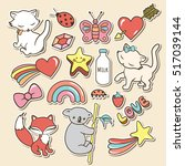 cute stickers collections... | Shutterstock .eps vector #517039144