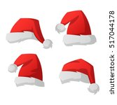 santa christmas hat vector... | Shutterstock .eps vector #517044178