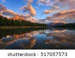 maligne lake sunset | Shutterstock . vector #517057573