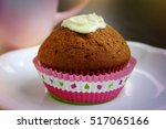 fresh homemade delicious muffin ... | Shutterstock . vector #517065166