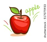 fresh red apple with green leaf.... | Shutterstock .eps vector #517075933
