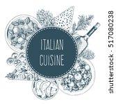 vector italian cuisine... | Shutterstock .eps vector #517080238