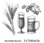 hops  malt  beer glass and beer ... | Shutterstock .eps vector #517080658