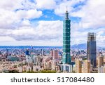 Aerial panorama over Downtown Taipei with Taipei 101 Skyscraper, capital city of Taiwan