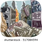 Editorial Illustration Featuring a City Left in Ruins After Becoming a Battleground | Shutterstock vector #517084594