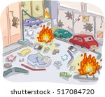 Editorial Illustration Featuring the Chaos and Devastation Left by a Violent Street Riot | Shutterstock vector #517084720