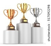 cups of winners award on white... | Shutterstock . vector #517092298