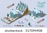 isometric merry christmas... | Shutterstock .eps vector #517094908