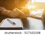 businessman working with modern ... | Shutterstock . vector #517102108