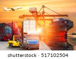 logistics and transportation of ... | Shutterstock . vector #517102504