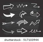 set of arrow doodle on... | Shutterstock .eps vector #517103944