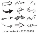 set of arrow doodle on white... | Shutterstock .eps vector #517103959