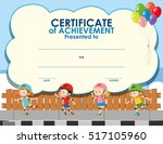 certificate template with kids... | Shutterstock .eps vector #517105960