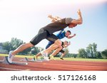 runners preparing for race at... | Shutterstock . vector #517126168