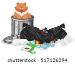 cat sitting in trashcan...   Shutterstock .eps vector #517126294