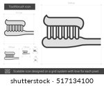toothbrush vector line icon... | Shutterstock .eps vector #517134100