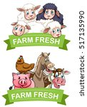label design with farm animals... | Shutterstock .eps vector #517135990
