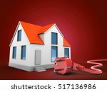 3d illustration of house over... | Shutterstock . vector #517136986