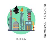 oil refinery flat icons concept ... | Shutterstock .eps vector #517164823