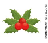 happy merry christmas leafs... | Shutterstock .eps vector #517167043