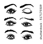 handdrawn sketchy vector eyes... | Shutterstock .eps vector #517175509