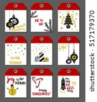 christmas tags   set of 9 hand... | Shutterstock .eps vector #517179370