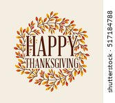 happy thanksgiving card with... | Shutterstock .eps vector #517184788