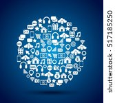 social media icons in circle... | Shutterstock .eps vector #517185250