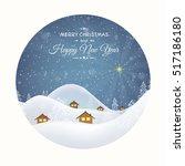 winter village huts windows...   Shutterstock .eps vector #517186180