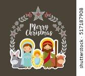card of holy family manger... | Shutterstock .eps vector #517187908
