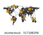 world map with carton boxes and ... | Shutterstock .eps vector #517188298