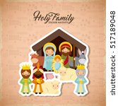 holy family manger scene with... | Shutterstock .eps vector #517189048