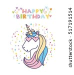 happy birthday card with cute... | Shutterstock .eps vector #517191514