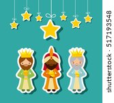 cartoon cute three wise men... | Shutterstock .eps vector #517193548