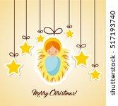 cartoon cute baby jesus with... | Shutterstock .eps vector #517193740