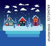 merry christmas greeting card... | Shutterstock .eps vector #517194769