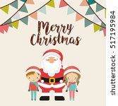merry christmas card with... | Shutterstock .eps vector #517195984