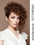 brunette woman with curly and... | Shutterstock . vector #517198360